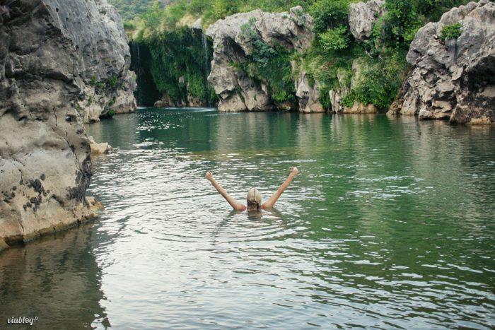 """baignade cascade de l'éventail """"Le parapluie"""" Hérault 34"""